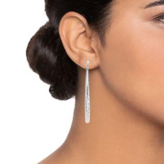 Napier Silver Tone Large Textured Hoop Earrings