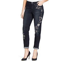 Women's Bandolino Karyn Embroidered MidRise Slim Boyfriend Jeans