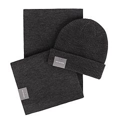 Men's Van Heusen Essential Rib Knit Cuffed Beanie & Scarf Set
