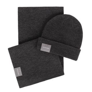 Men's Van Heusen Essential Rib Knit Cuffed Beanie & Scarf Set