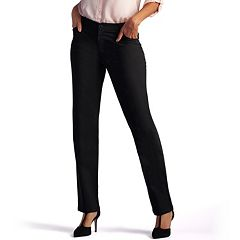 Petite Lee Relaxed Fit Straight Leg Twill Mid-Rise Pants