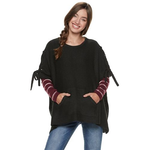 Juniors' madden NYC Lace-Up Poncho