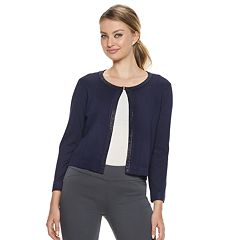 Women's Nina Leonard Embellished Crop Cardigan