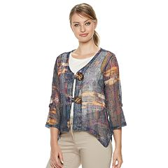 Women's Nina Leonard Print Open-Work Cardigan