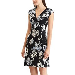 Petite Chaps Floral Surplice Faux-Wrap Dress