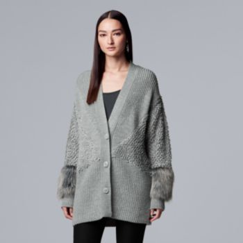 Women's Simply Vera Vera Wang Faux-Fur Trim Sweater Coat