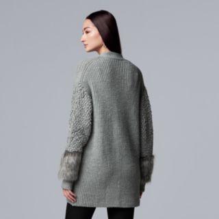 Women's Simply Vera Vera Wang Faux-Fur Trim Sweater Coat