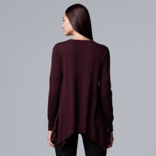 Women's Simply Vera Vera Wang Embellished Handkerchief-Hem Sweater
