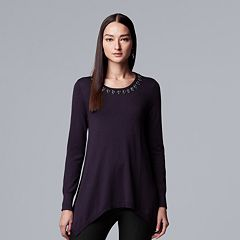 Women's Simply Vera Vera Wang Embellished Handkerchief-Hem Sweater
