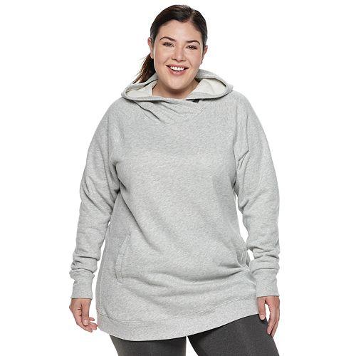 a691477764e Plus Size Tek Gear® Fleece Raglan Tunic Hoodie