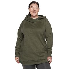 Plus Size Tek Gear® Fleece Raglan Tunic Hoodie