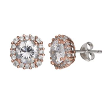 PRIMROSE Two Tone Sterling Silver Cubic Zirconia Square Stud Earrings