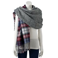 Women's madden NYC Plaid Reversible Blanket Scarf