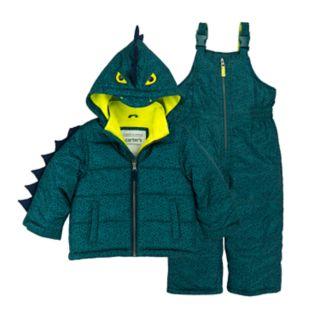 Boys 4-7 Carter's Dinosaur Quilted Hooded Heavyweight Jacket & Bib Snow Pants Set