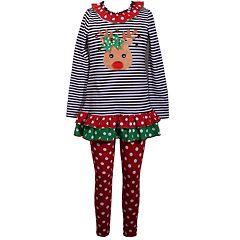 Girls 7-16 Bonnie Jean Reindeer Striped Dress & Polka Dot Legging Set