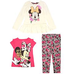 Disney's Minnie Mouse Toddler Girl Long-Sleeve & Short-Sleeve Graphic Tees & Floral Leggings Set