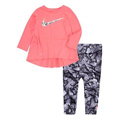 Baby Girl Nike High-Low Hem Tunic & Watercolor Leggings Set