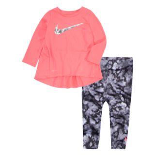Baby Girl Nike High-Low Hem Tunic & Watercolor Leggings Set