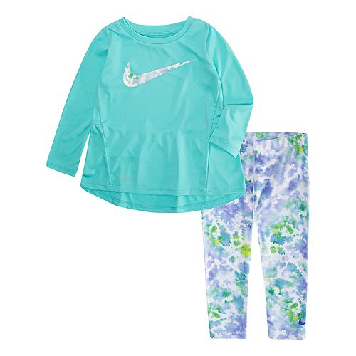 where to buy big sale exquisite style Baby Girl Nike Dri-FIT Tunic & Tie-Dye Leggings Set