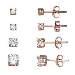 PRIMROSE 14k Rose Gold Over Silver 4-Pair Cubic Zirconia Stud Earring Set