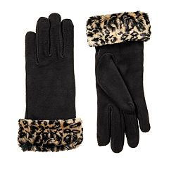 Women's isotoner Stretch Fleece Faux Fur Cuff Gloves