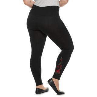 Plus Size French Laundry High Rise Floral Embroidered Leggings