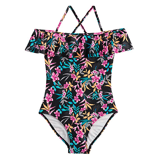 3fb5d402d2ad6 ... One-Piece Swimsuit & Skirt Set. Girls 7-16 & Plus Size SO® Tropic  Darling Off-The-Shoulder