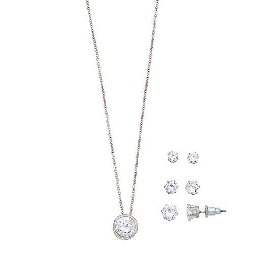 Cubic Zirconia Bezel Necklace & Earring Set