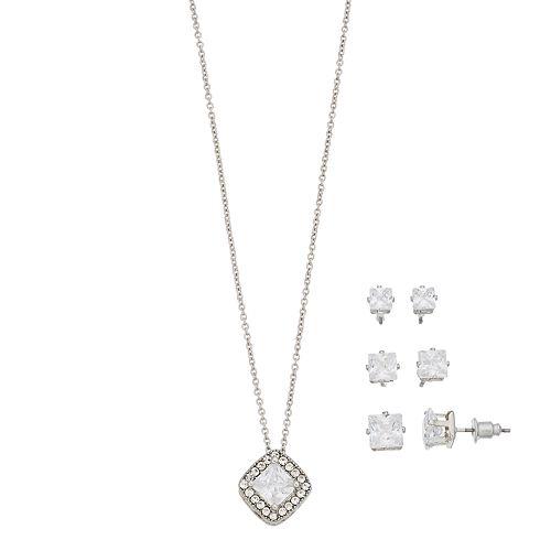Cubic Zirconia Pave Square Shape Necklace & Earring Set