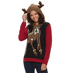 Juniors' Reindeer Christmas Hoodie Sweater