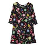 Girls 7-16 IZ Amy Byer Christmas Print Knit Swing Dress