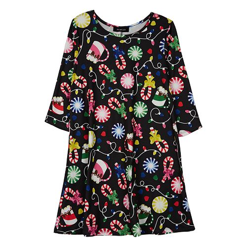 Girls 7-16 IZ Amy Byer Christmas Print Knit Swing Dress