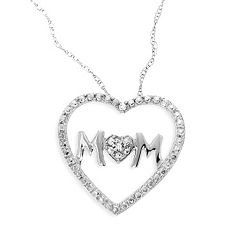 10k White Gold Diamond Accent 'Mom' Heart Pendant