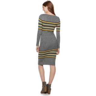 Juniors' Almost Famous Striped Ribbed Dress