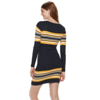Juniors' Almost Famous Striped Ribbed Mini Dress