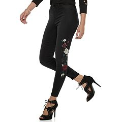 Women's Jennifer Lopez Embroidered MidRise Super Skinny Jeans