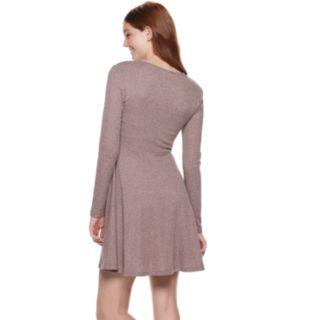 Juniors' Almost Famous Ribbed Hatchi V-Neck Fit & Flare Dress