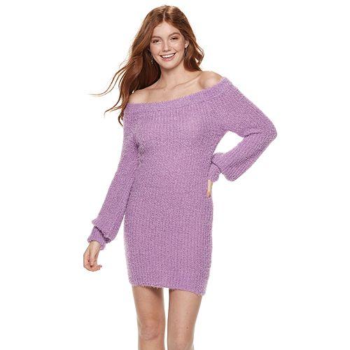 Juniors' Almost Famous Eyelash Off-Shoulder Mini Sweater Dress