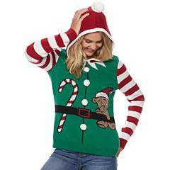 Juniors' Christmas Elf Hoodie Sweater
