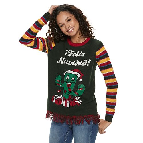 Light Up Christmas Sweater.Junior S Feliz Navidad Light Up Christmas Sweater
