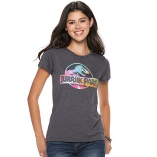 Juniors' Jurassic Park Tie-Dye Logo Tee