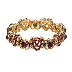 Napier Glass Crystal Heart Stretch Bracelet