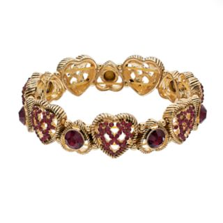 Napier Glass Crystal Heart Stretch Bracelet