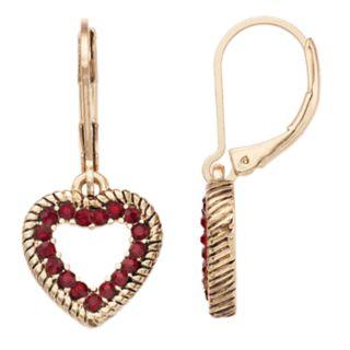 Napier Glass Crystal Heart Drop Earrings