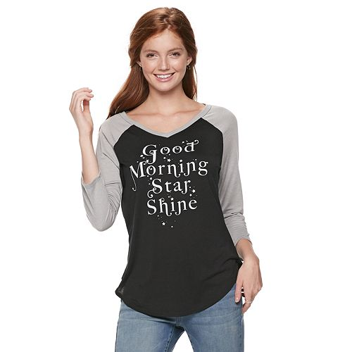 "Juniors' ""Good Morning Star Shine"" Raglan Graphic Tee"