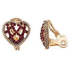 Napier Glass Crystal Heart Clip-On Earrings