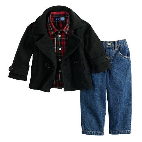 Toddler Boy Great Guy Midweight Peacoat Jacket, Plaid Shirt & Jeans Set