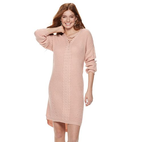 Juniors' Almost Famous Lace-Up Sweater Dress