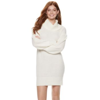 Juniors' Almost Famous Cowlneck Mini Sweater Dress