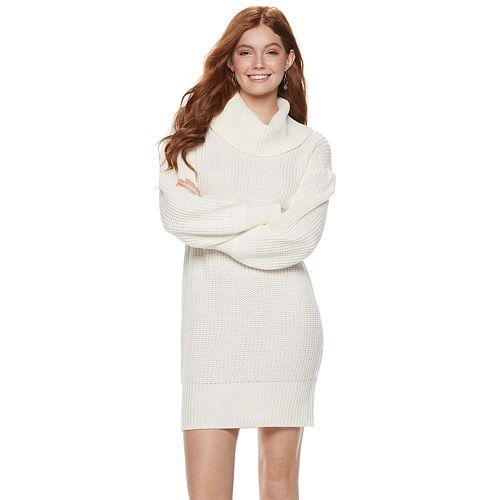 6df5614ec89 Juniors  Almost Famous Cowlneck Mini Sweater Dress